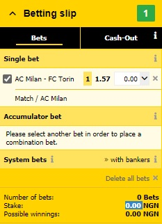 Betway Betting Slip