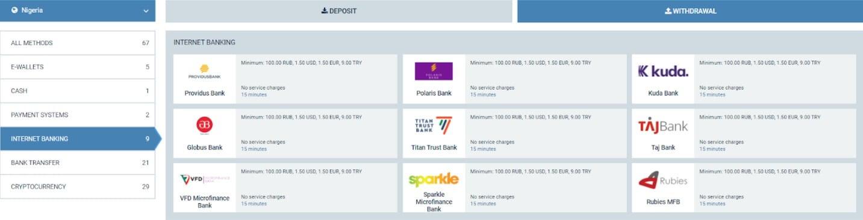 1xbet Internet Banking