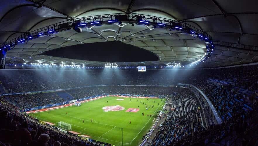 stadium football match at night